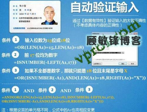 EXCEL输入身份证号码自动验证输入