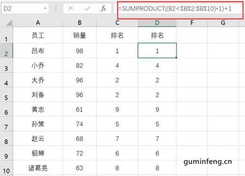 SUMPRODUCT函数实现中式排名