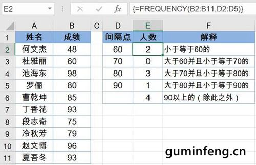 FREQUENCY函数