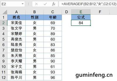 AVERAGEIF函数